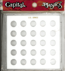 Dimes Capital Plastics Coin Holder White. Galaxy Dimes Capital Plastics Coin Holder White., Capital, GX51C