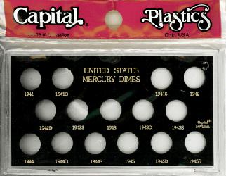 Mercury Dimes 1941 Capital Plastics Coin Holder Black Meteor