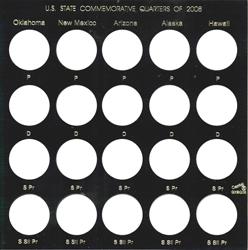 State Quarters 2008 Capital Plastics Coin Holder Black Galaxy State Quarters 2008 Capital Plastics Coin Holder Black, Capital, GXSQ-2008