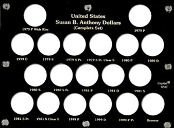 Susan B Anthony Complete Set Capital Plastics Coin Holder Black 6x8 Susan B Anthony Complete Set Capital Plastics Coin Holder Black, Capital, 454C