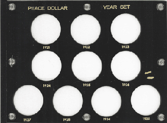 Peace Dollar Year Set Capital Plastics Coin Holder Black 6x8 Peace Dollar Year Set Capital Plastics Coin Holder Black, Capital, 452P