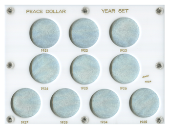 Peace Dollar Year Set Capital Plastics Coin Holder White 6x8 Peace Dollar Year Set Capital Plastics Coin Holder White, Capital, 452P
