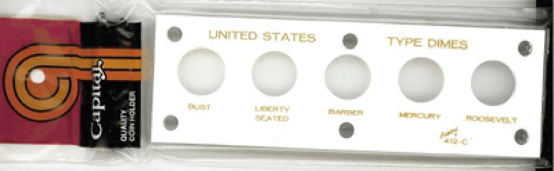 US Type Dimes Capital Plastics Coin Holder White 2x6