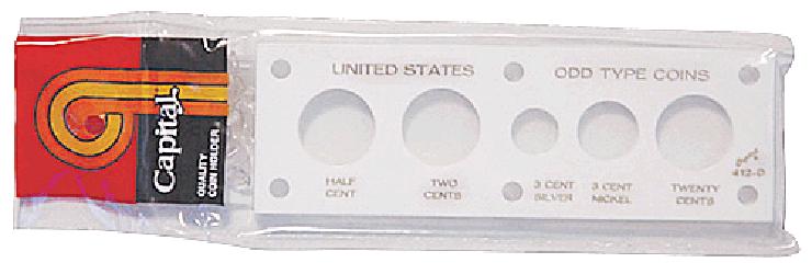 US Odd Type Coins Capital Plastics Coin Holder White 2x6