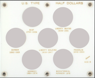 US Type Half Dollars Capital Plastics Coin Holder White 5x6 US Type Half Dollars Capital Plastics Coin Holder White, Capital, 429B