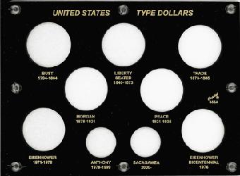 US Type Dollar Capital Plastics Coin Holder Black 6x8