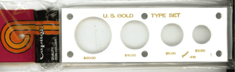 Gold Type Set Capital Plastics Coin Holder White 2x6