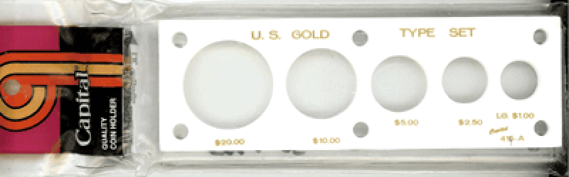 Gold Type Set 5 Coin Capital Plastics Coin Holder White 2x6
