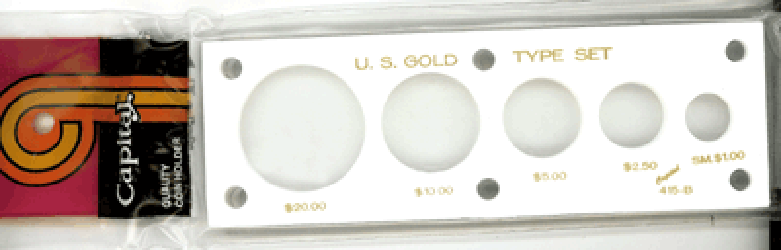 Gold Type Set 5 Coin Capital Plastics Coin Holder White Sm $ 2x6 Gold Type Set 5 Coin Capital Plastics Coin Holder White Sm $, Capital, 415BW