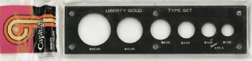 Liberty Gold Type Set Capital Plastics Coin Holder Black 2x7.5