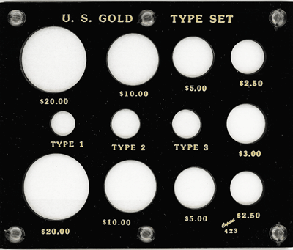 Gold Type Set Lib. 20, 10, 5, 3, 2.50, Type I,II,III 5x6