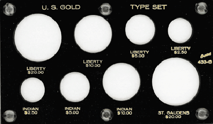 Gold Type Set 433G Indian, Liberty, St Gaudens - $20, $10, $5, $2.50 - 3.5 x 6