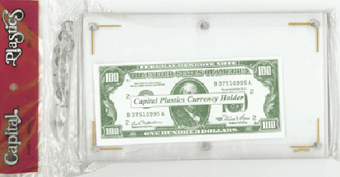 Capital Plastics Modern Currency Holder 4.5 x 7.5 Currency Holder, Capital, CH-1, currency, us money, storage, coin supplies, coinsupplyexpress, paper money, currency storage