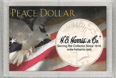 Peace Dollar HE Harris 2x3 Frosty Case 2x3 Peace Dollar HE Harris 2x3 Frosty Case, HE Harris & Co, 1664