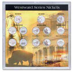 HE Harris 13 Coin Westward Journey Nickel Frosty Case 6.5x6.5 HE Harris 13 Coin Westward Journey Nickel Frosty Case, HE Harris & Co, 90923011