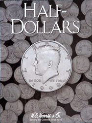 Kennedy Half Dollar Plain HE Harris Coin Folder 6x7.75 Kennedy Half Dollar Plain HE Harris Coin Folder, HE Harris & Co, 2698