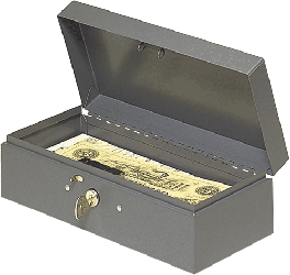 Steel Paper Money Box 10.25x4.75x2.875 Steel Paper Money Box, MMF, 2212CBGY