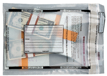 "Clear Tamper Evident Money Bag 9"" x 13"" Tamper Evident Money Bag, MMF, 2362010N20"