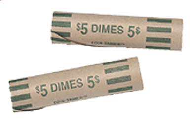 Preformed Dime Coin Wrappers Preformed Tube Coin Wrappers, MMF, 2160600C02