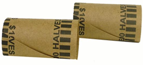 Preformed Half Dollar Coin Wrappers Preformed Tube Coin Wrappers, MMF, 2160600E03