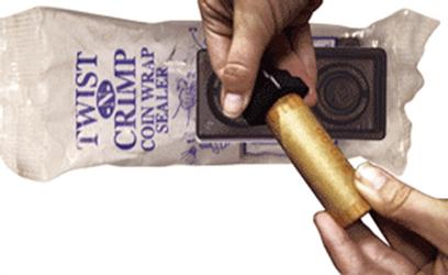 Twist and Crimp Coin Wrapper Sealer