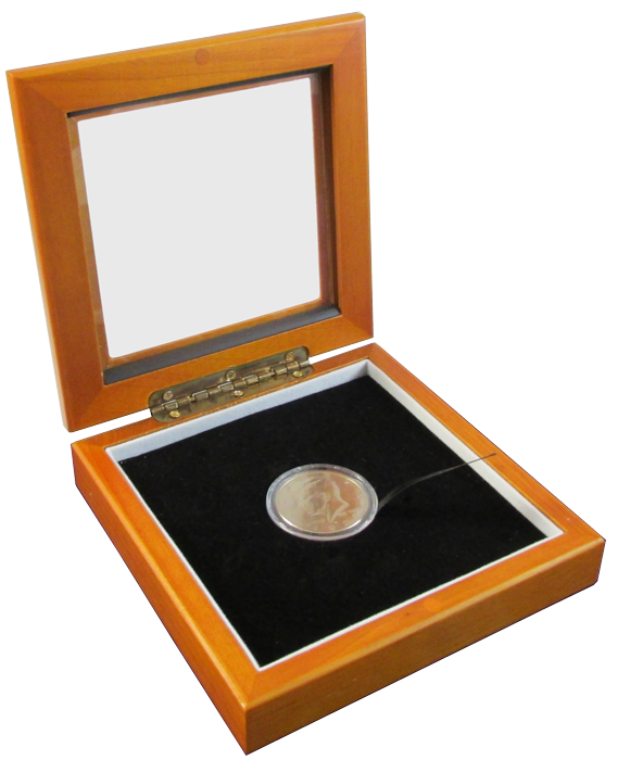 Guardhouse Single Coin Glass Top Box - Holds Medium Capsule - 5x5x1.25 wood coin box, coin box, challenge coin box, glass display box, coin capsule display box, coin gift box