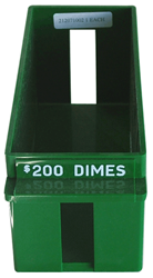 Dime Large Quantity Rolled Coin Tray Plastic Green Dime Dime Large Quantity Rolled Coin Tray Plastic Green, MMF, 212071002
