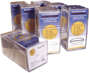 Supersafe 37.5 mm Self Adhesive 2 x 2 Coin Holders