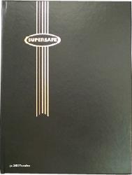 Supersafe Stamp Stockbook - 64 Black Pages Padded Black Cover