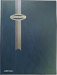 Supersafe Stamp Stockbook - 64 Black Pages Padded Blue Cover