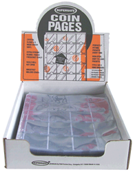 Supersafe 20 Pocket Pages For 2x2 Coin Flips - Box 100 20 Pocket Pages, Supersafe, NV20