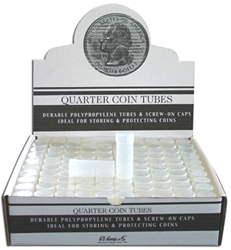 Quarter Polyproplene Round Coin Tubes | 100 Pack Quarter Polyproplene Round Coin Tube HE Harris 100 Pack, HE Harris & Co, 90921285, Quarter, Round coin tubes, storage tubes