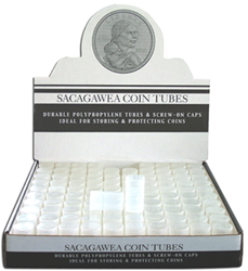 SAC & S.B.A.  Dollar Polyproplene Round Coin Tubes | 100 Pack Sacagawea Dollar Polyproplene Round Coin Tube HE Harris 100 Pack, HE Harris & Co, susan b. anthony dollar tubes, H.E. harris coin tubes, polyproplene, sacagawea