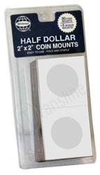 Whitman 2 x 2 Paper Coin Flips - Half Dollar Paper Coin Mounts - Half Dollars, 0794826849
