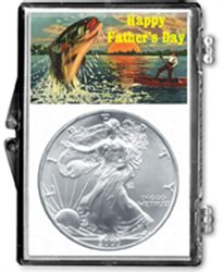 Fathers Day Catching Fish- American Silver Eagle Fathers Day Catching Fish- American Silver Eagle, SN252