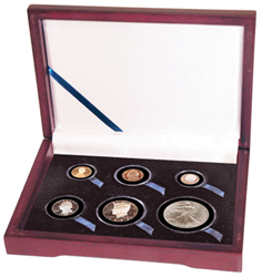 Guardhouse Wood Display Box for 6 Coin Capsules (2S,2M,L,XL) Proof or Mint Set - Cent through Dollar