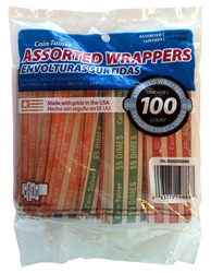 100 Mixed Flat Coin Wrappers coin, wrappers, penny, nickel, dime, quarter, twist, crimp, tool