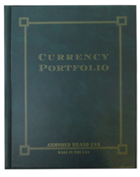 Currency Portfolio for Modern & Large Notes - Green Large Size Currency Portfolio- Green, Green