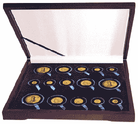 Guardhouse Wood Display Box for 15 Coin Capsules (6S,3M,3L,3XL) Three Gold Type Sets