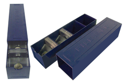 Blue Coin Box with Sliding Cover