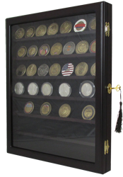 Premium Military Challenge Coin Display Shadow Box with 7 Shelves and Lock