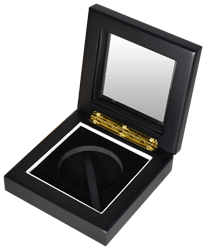 """Guardhouse XL 2"""" Challenge Coin Glasstop Wood Display Box - Black Matte"""