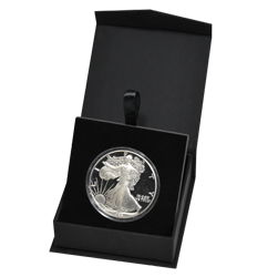 Black Folding Coin Capsule Box with Magnetic Lid and Stand Insert - Large Capsule