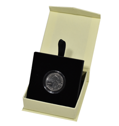 Folding Coin Capsule Box with Magnetic Lid and Stand Insert - Tan - Small Capsule
