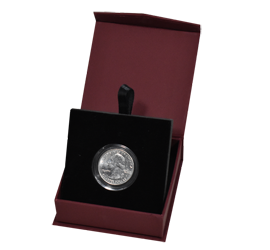 Folding Coin Capsule Box with Magnetic Lid and Stand Insert - Burgundy - Small