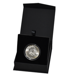 Folding Coin Capsule Box with Magnetic Lid and Stand Insert - Medium - Black