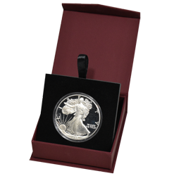 Folding Coin Capsule Box with Magnetic Lid and Stand Insert - Large - Burgundy
