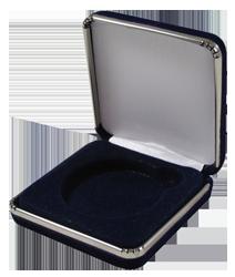 Slim Steel Case Coin Capsule Box - L Vac - Black Velvet - Rim on Base and Lid