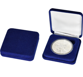 Slim Steel Case Coin Capsule Box - L Vac - Blue Velour - No Rim