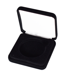 Slim Steel Case Coin Capsule Box - L Vac - Black Velour - No Rim